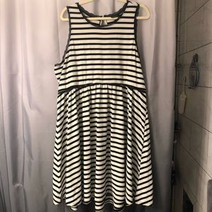 Torrid striped tank dress with scallop lacing